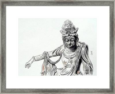 Framed Print featuring the painting An Oriental Statue At Toledo Art Museum - Ohio- 2 by Yoshiko Mishina