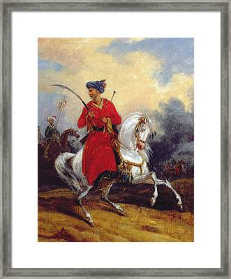 An Ottoman On Horseback Framed Print by Charles Bellier