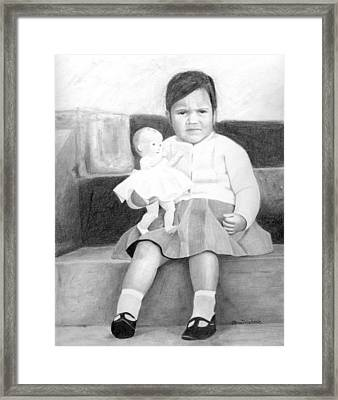 Framed Print featuring the drawing Ana With Dolly by Ana Tirolese
