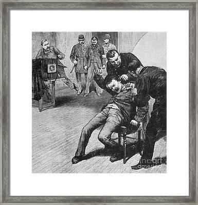 Anarchist Being Held Down For Mug Shot Framed Print