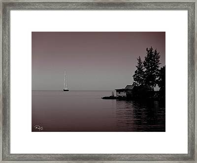 Anchored Near A Temple - Black And White Framed Print by Allan Rufus