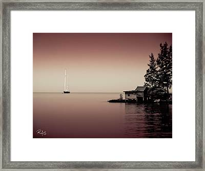 Anchored Near A Temple - Tint On Red Framed Print by Allan Rufus