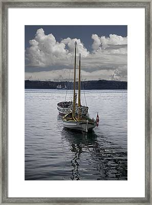 Anchored Sailboats In Halifax Harbor Framed Print by Randall Nyhof