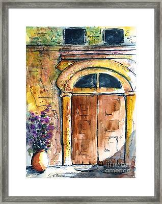 Ancient Door Of Greece Framed Print by Therese Alcorn
