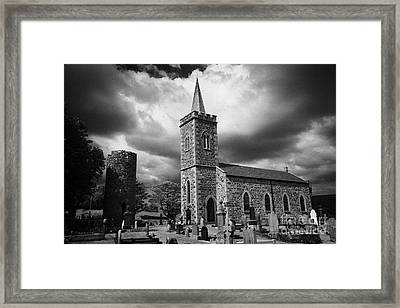 Ancient Glenshesk Armoy Round Tower In The Grounds Of St Patricks Parish Church Armoy County Antrim Framed Print by Joe Fox