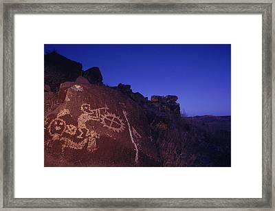 Ancient Rock Art Showing Kokopelli Framed Print by Ira Block
