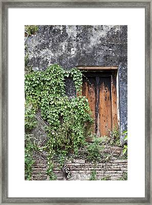 Ancient Window In Old Temple Thailand Framed Print by Chavalit Kamolthamanon