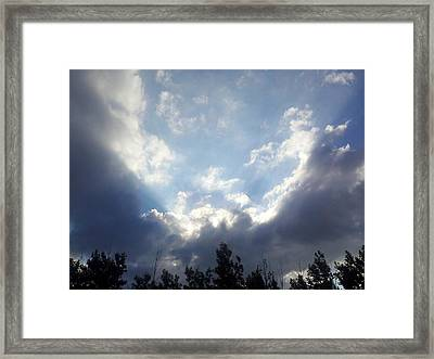 And The Clouds Opened Up Framed Print by Christy Patino