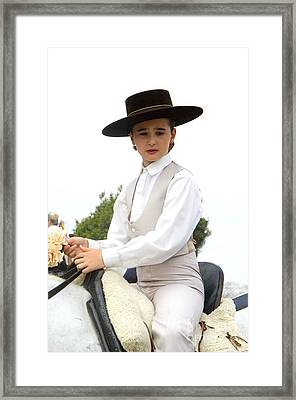 Andalusian Feria - Girl On Horse Framed Print by Perry Van Munster