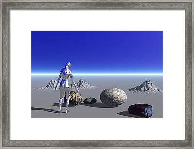 Android On The Blue Planet Framed Print
