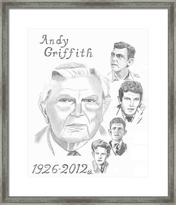 Andy Griffith Framed Print by Gail Schmiedlin