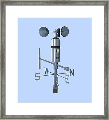 Anemometer And Wind Vane Framed Print by Paul Rapson