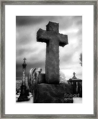 Angel And Cross Framed Print by Jeff Holbrook