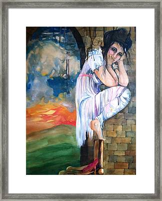 Angel And The Mushroom Cloud Framed Print