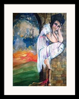 Mushroom Cloud Angel Watercolor Chair Brick Wall Green Hills White Dress Framed Prints