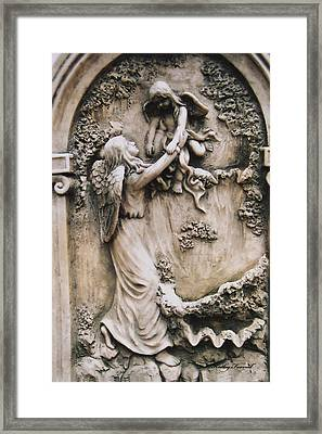 Angel Art And Child Angel Sculpture  Framed Print by Kathy Fornal