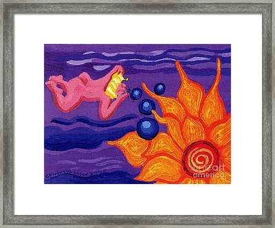 Angel Blows Bubbles On Sunflower Framed Print by Genevieve Esson