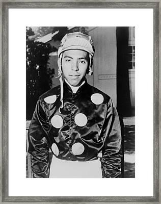 Angel Cordero Dressed In Racing Silks Framed Print