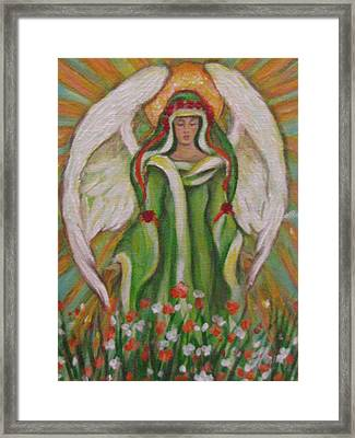 Angel In The Garden Framed Print by Radha Flora Cloud