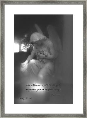 Angel Kneeling In Prayer - Inspirational Angel Art Framed Print by Kathy Fornal