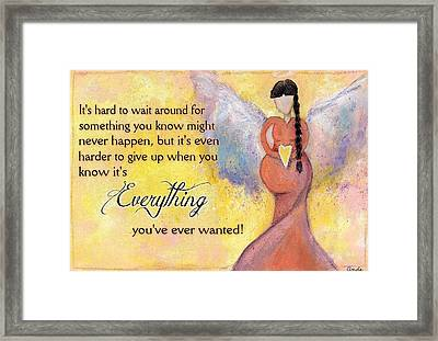 Angel Of Fertility And Hope Version 2 Framed Print by Andrea Plotts