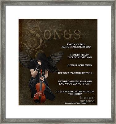 Angel Of Music Framed Print by Serena Ballard