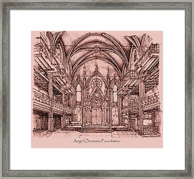 Angel Orensanz Centre In Pink  Framed Print by Building  Art