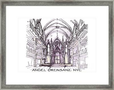 Angel Orensanz Ink  Framed Print by Building  Art