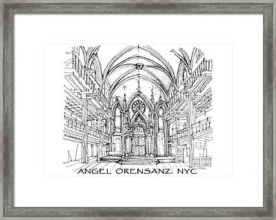 Angel Orensanz Sketch With Title Framed Print by Building  Art