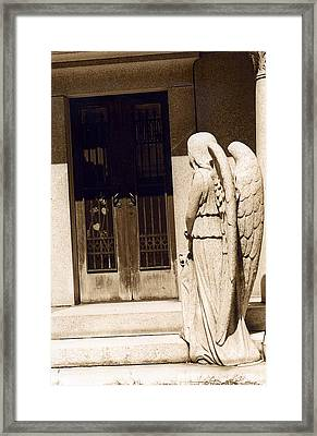 Angel Outside Cemetery Mausoleum Door Framed Print by Kathy Fornal
