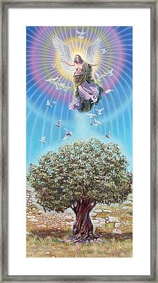 Angel Over The Olive Tree Framed Print by Miguel Tio