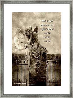 Angel Resting On Fence Inspirational Angel Art Framed Print by Kathy Fornal