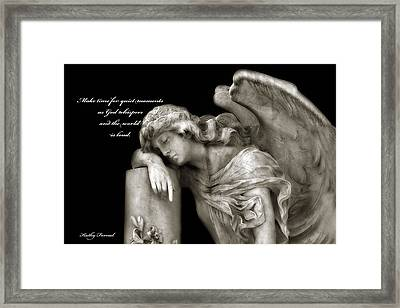 Angel Resting On Post Inspirational Angel Art Framed Print by Kathy Fornal
