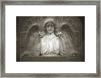Angel Sitting At Grave  - Guardian Angel  Framed Print by Kathy Fornal
