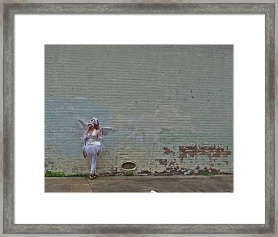 Angel With A Cell Phone On Mardi Gras Day In New Orleans Framed Print