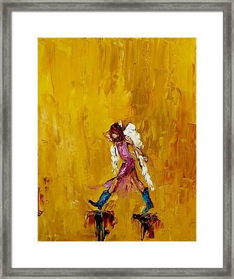 Angel With Cowboy Boots Framed Print by Judy Mackey