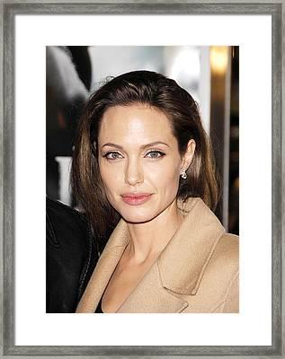 Angelina Jolie At Arrivals For Los Framed Print