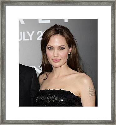Angelina Jolie At Arrivals For Salt Framed Print by Everett