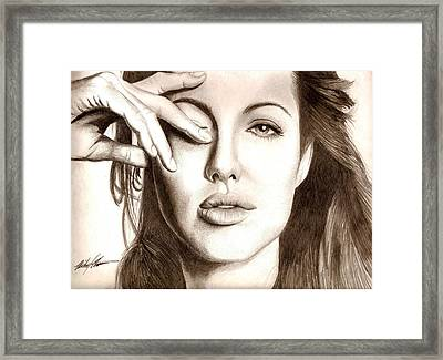 Angelina Jolie Framed Print by Michael Mestas