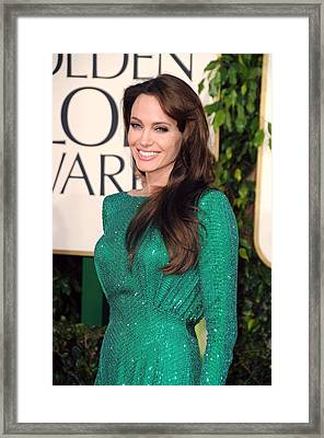 Angelina Jolie Wearing An Atelier Framed Print by Everett