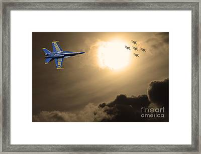 Angels In The Sky . Partial Sepia Framed Print by Wingsdomain Art and Photography