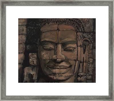 Angkor Smile - Angkor Wat Painting Framed Print by Khairzul MG
