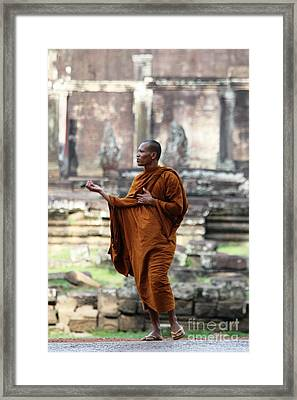 Framed Print featuring the photograph Angkor Wat Monk by Nola Lee Kelsey