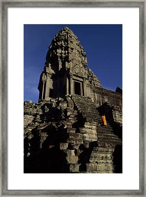 Angkor Wat Temple Complex With Ornate Framed Print by Paul Chesley