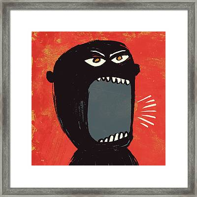 Angry Shout Man Illustration Framed Print by Don Bishop