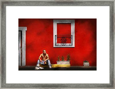 Animal - Dog - Think Alike  Framed Print by Mike Savad