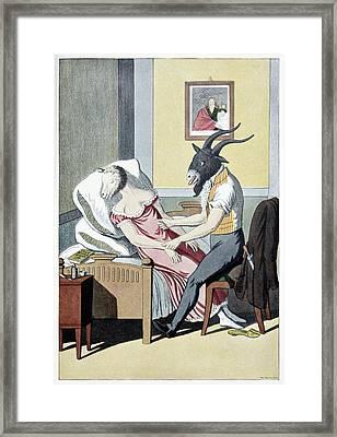 Animal Magnetism, Satirical Artwork Framed Print by