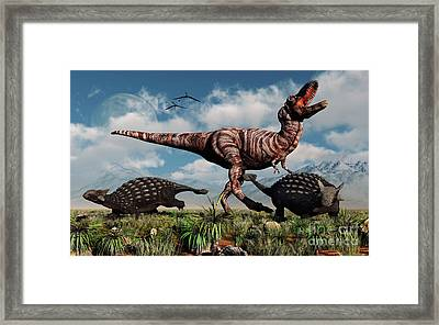 Ankylosaurus Dinosaurs Defend Framed Print