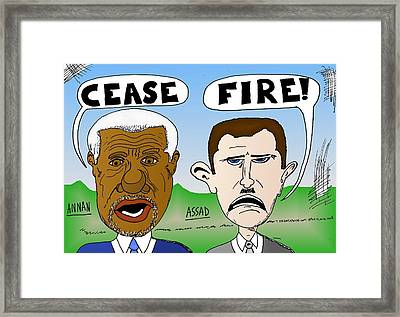 Annan Assad Cease Fire Cartoon Framed Print by Yasha Harari