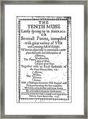 Anne Bradstreet Title-page Framed Print by Granger